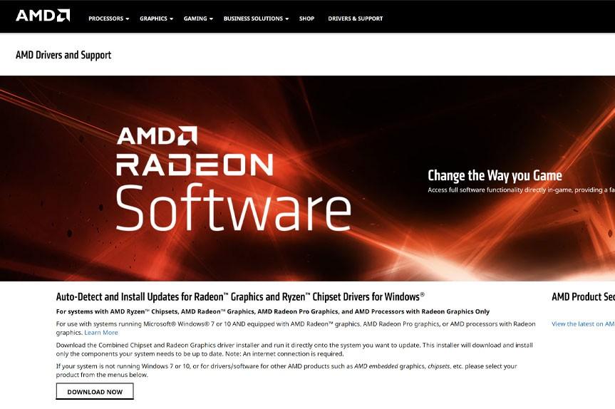 AMD Spletna stran za prenos graficnih gonilnikov