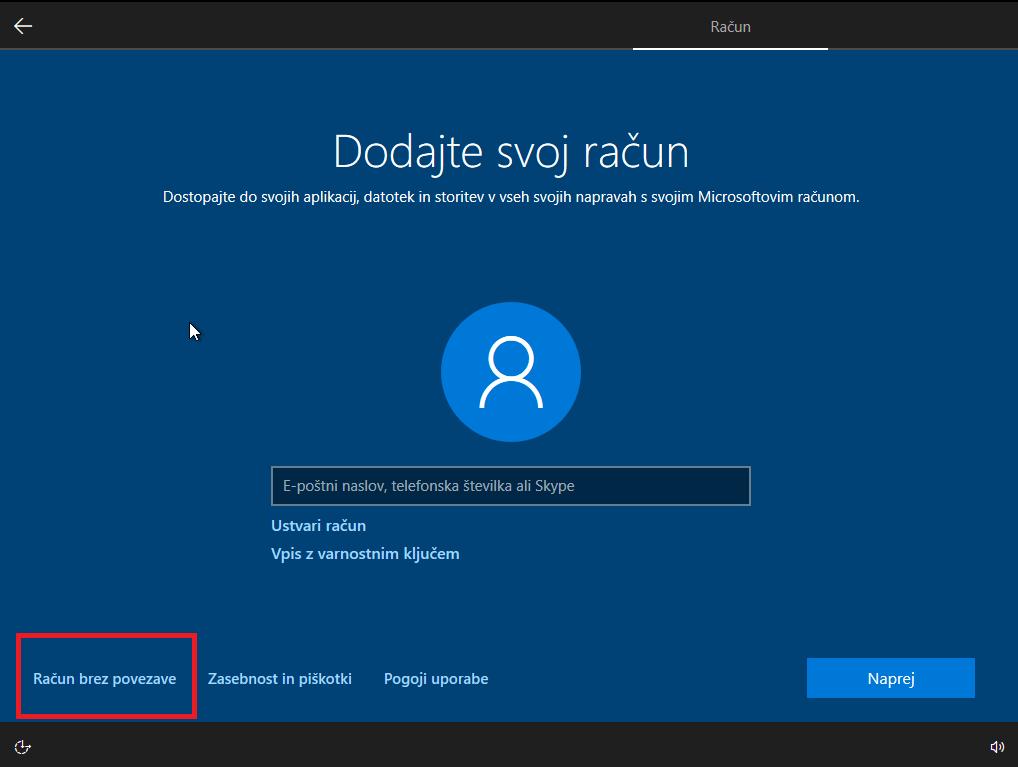 Dodajanje lokalnega računa na windows 10