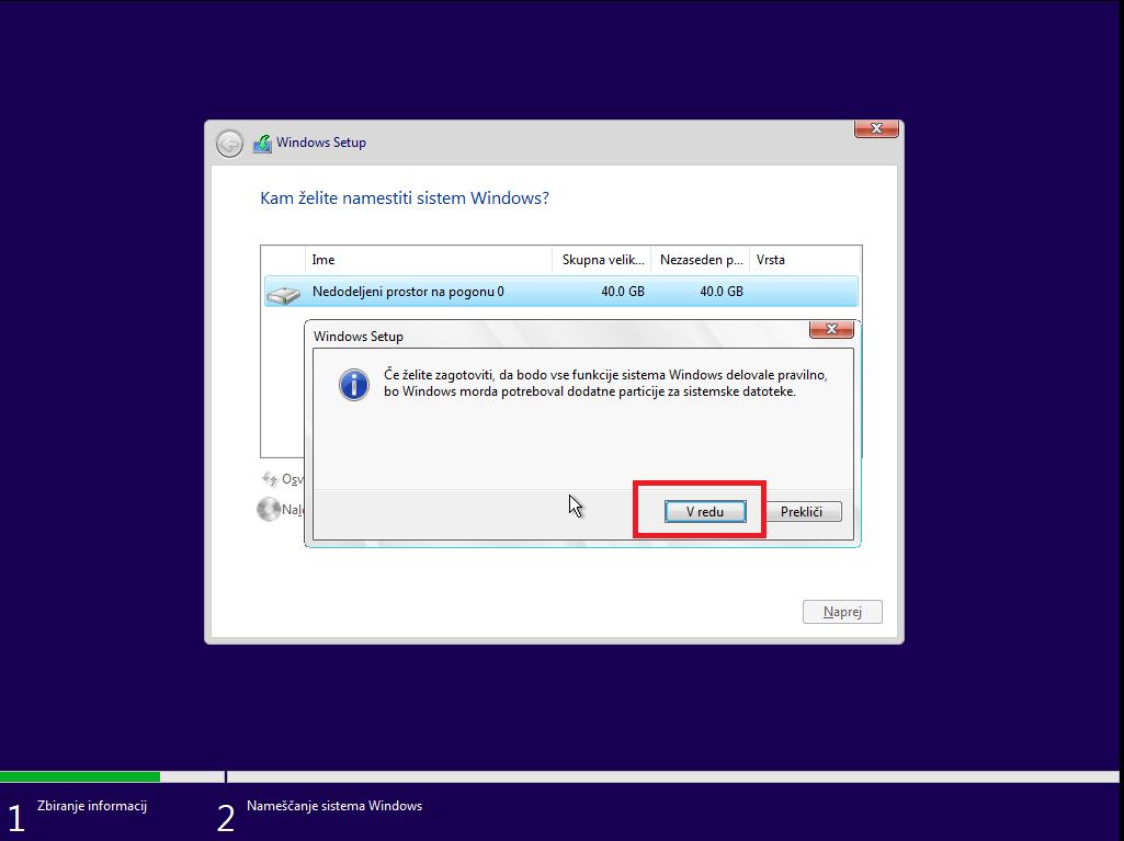 Dodatne particije za optimalno delovanje windows 10