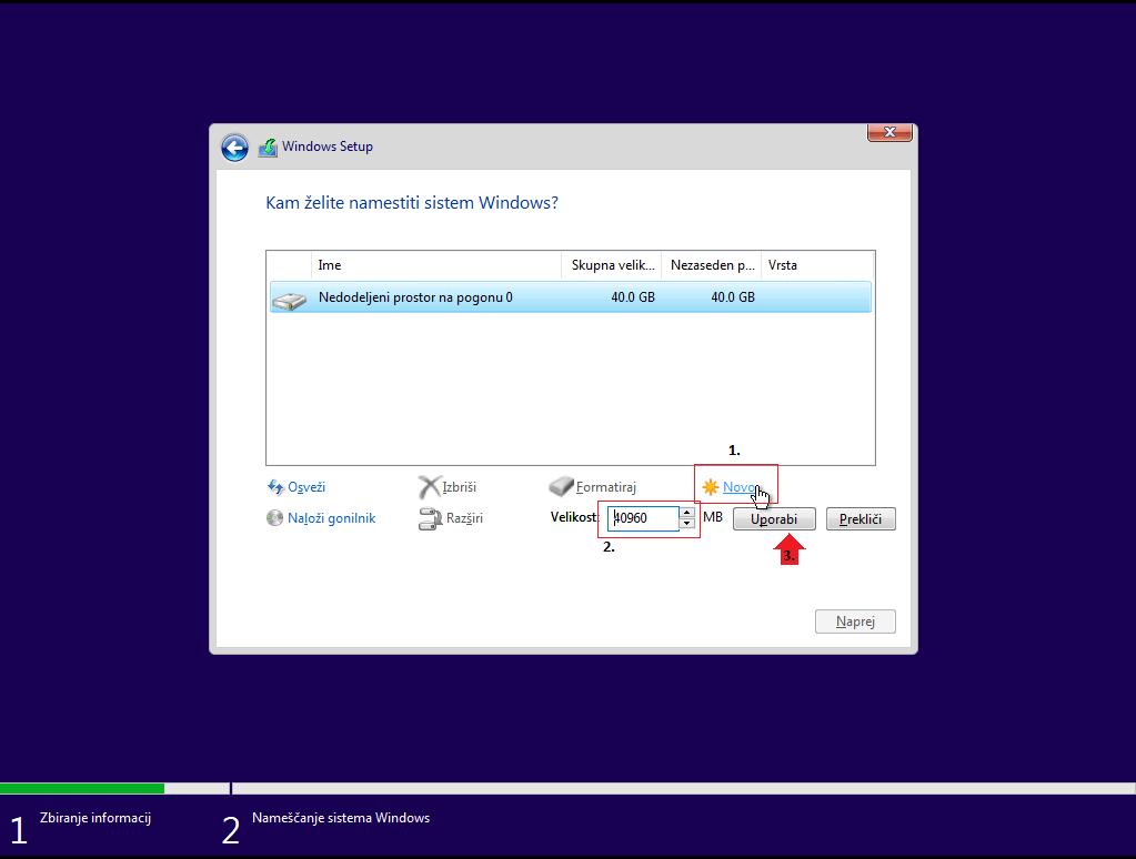 Formatiranje novega diska za namestitev windows 10