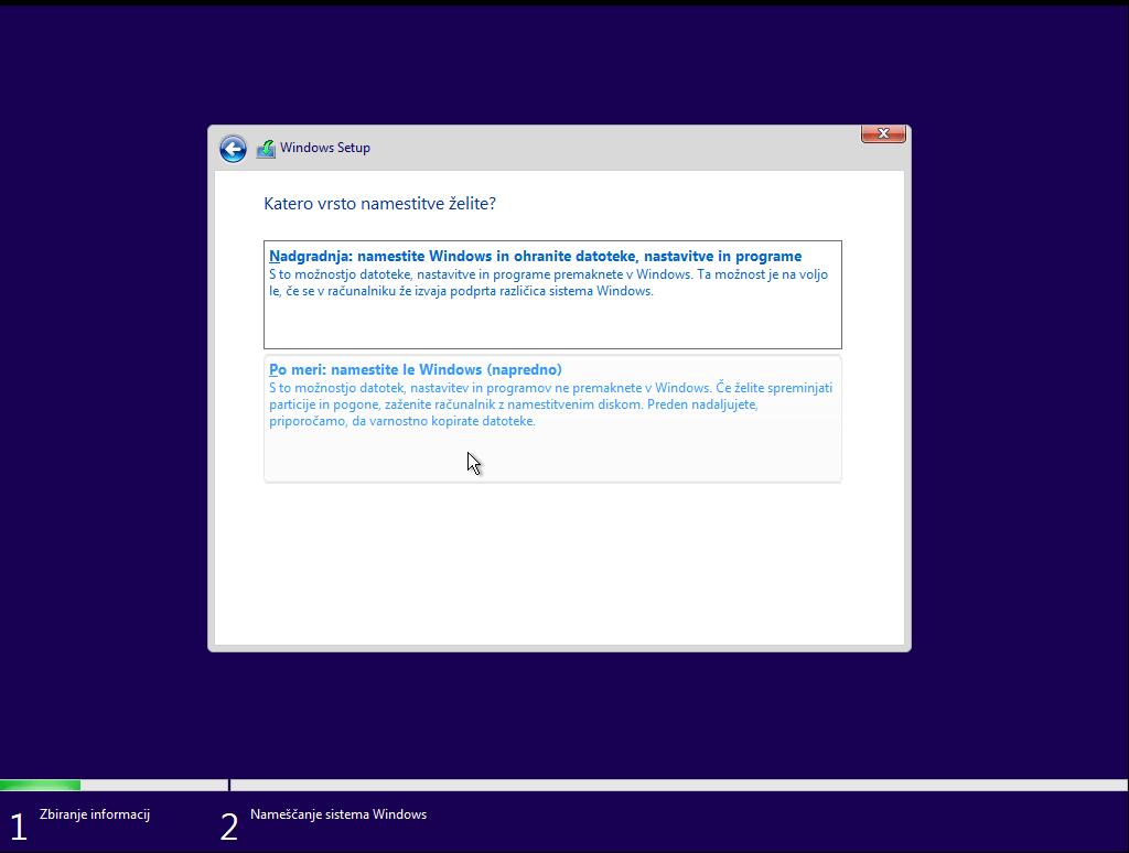 Inštalacija windows 10 po meri z usb ključka