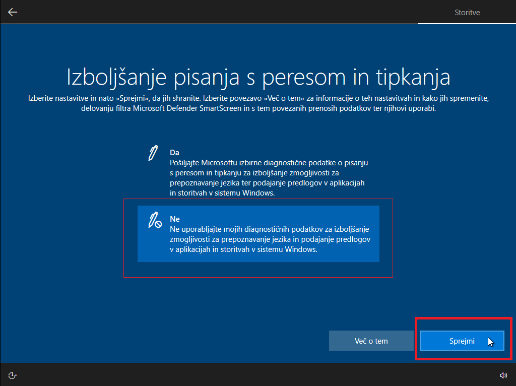 Izboljšava pisanja z peresom na windows 10 okolju
