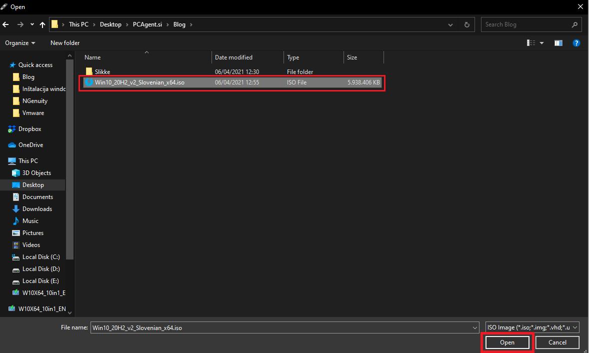 Izbor WIndows 10 ISO Datoteke za pripravo USB bootable diska