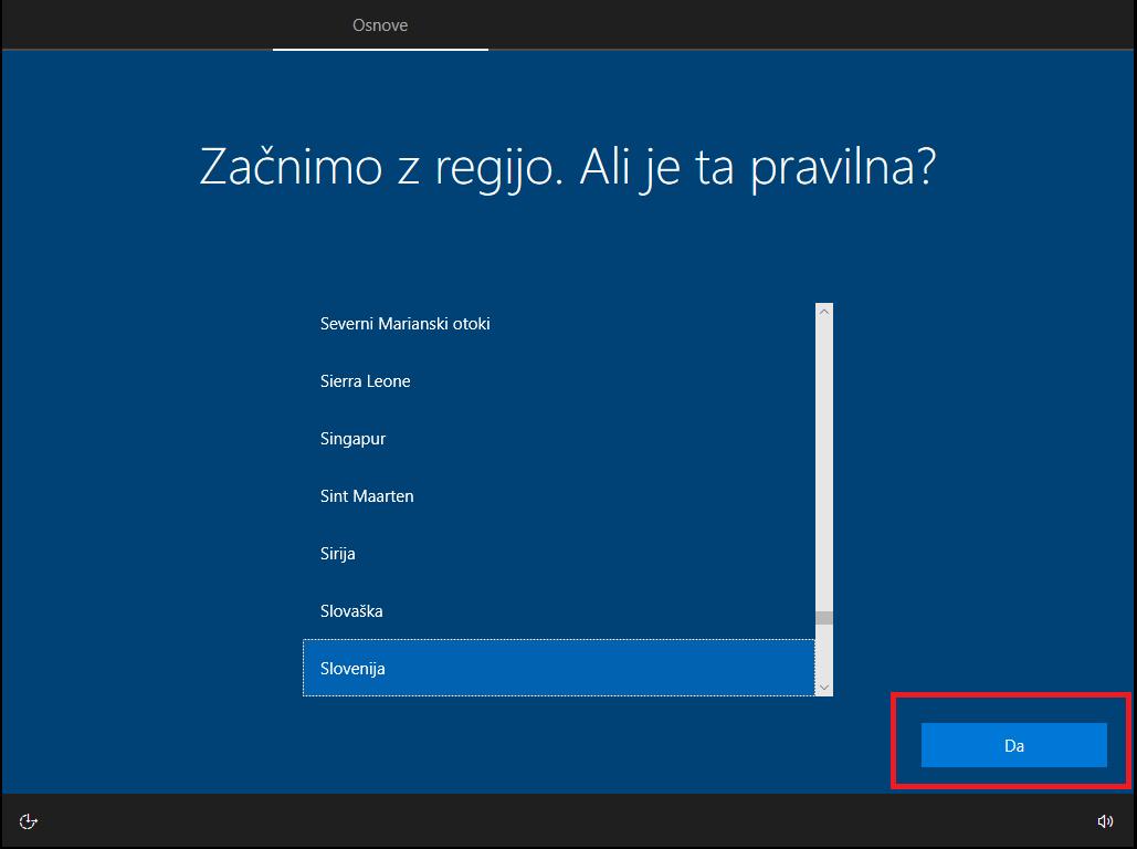 Izbor regije za windows 10