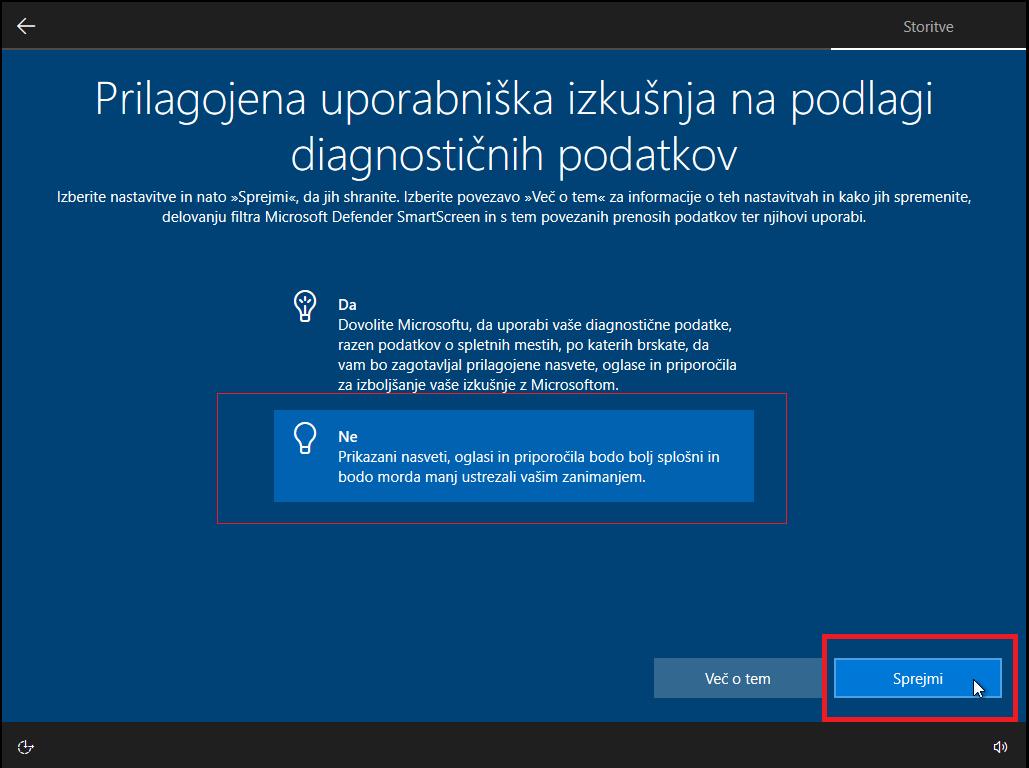 Izklopiti prilagojeno uporabniško izkušnjo glede diagnostičnih podatkov