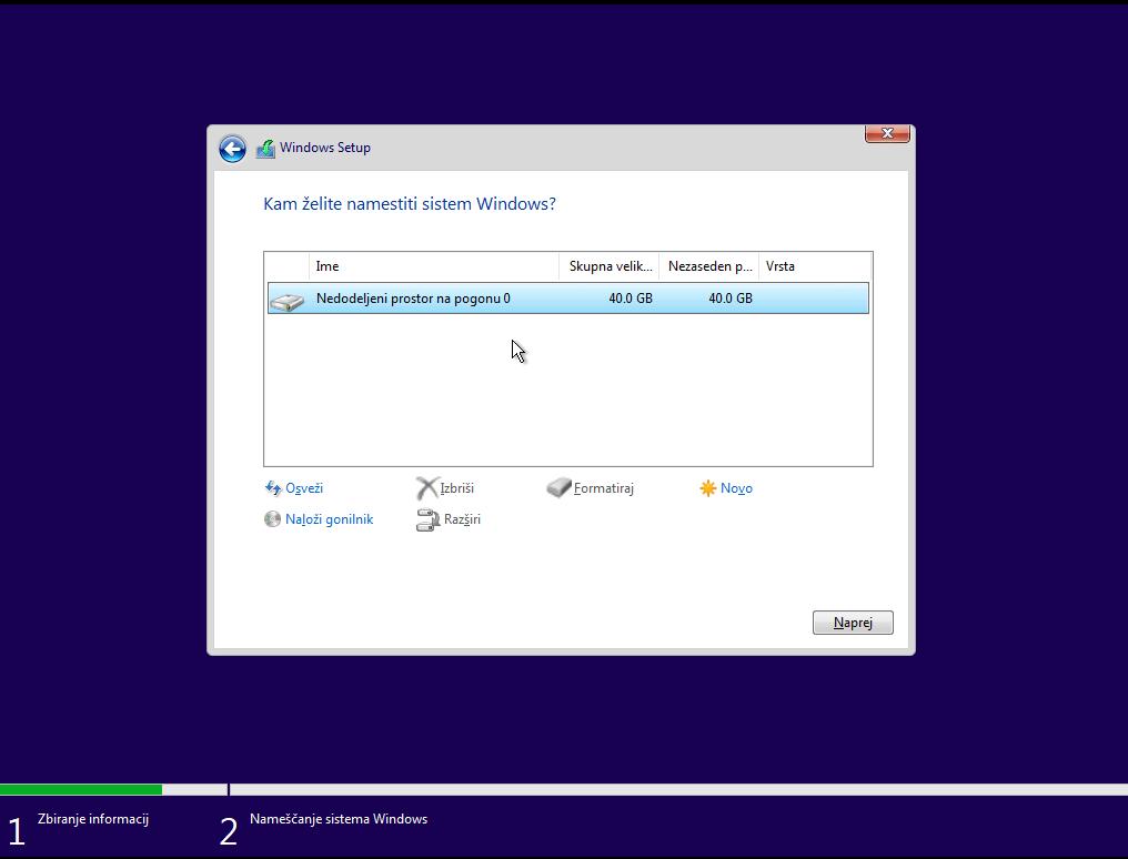 Izpisek Diskov za pripravo na windows 10 inštalacijo