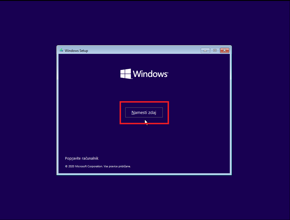 Namesti Windows 10 z usb zdaj