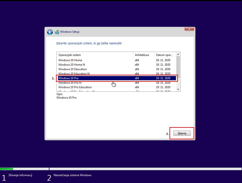 Namestitev Windows 10 Pro Različice preko usb ključka