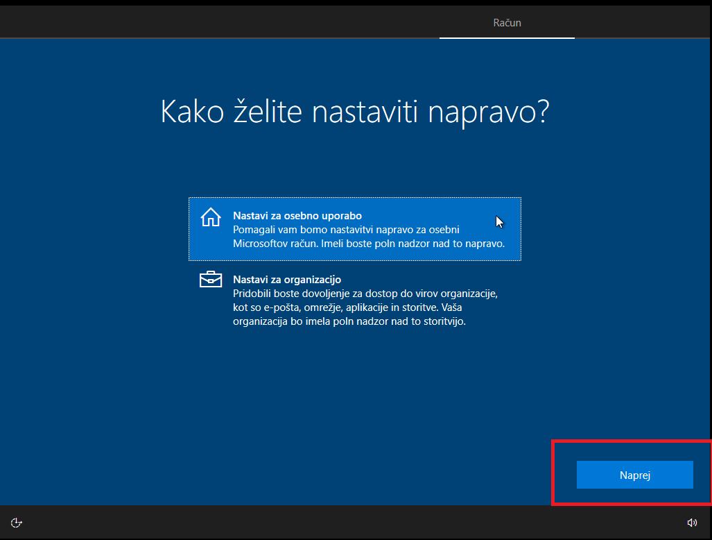 Nastavitev Windows 10 naprave za lastno uporabo