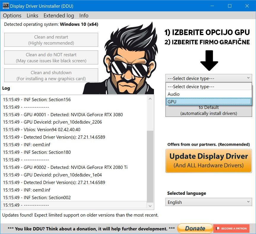 PC Agent DDU postopek odstranjevanja graficnih gonilnikov