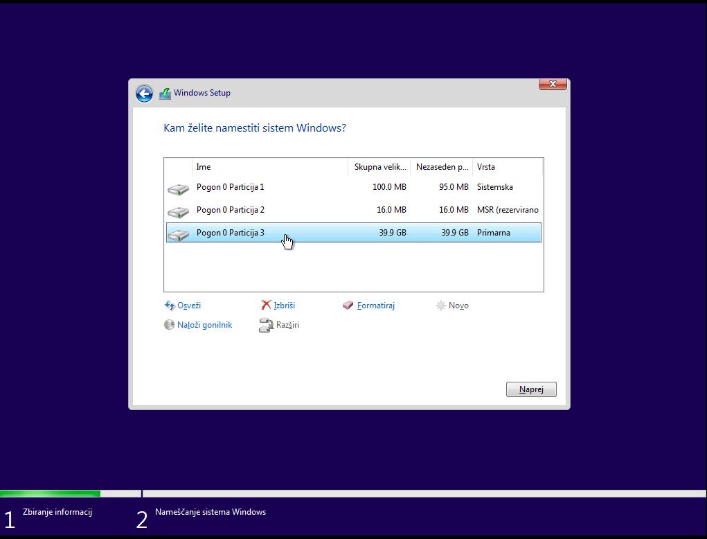 Particije na svežem sformatiranem disku za windows 10