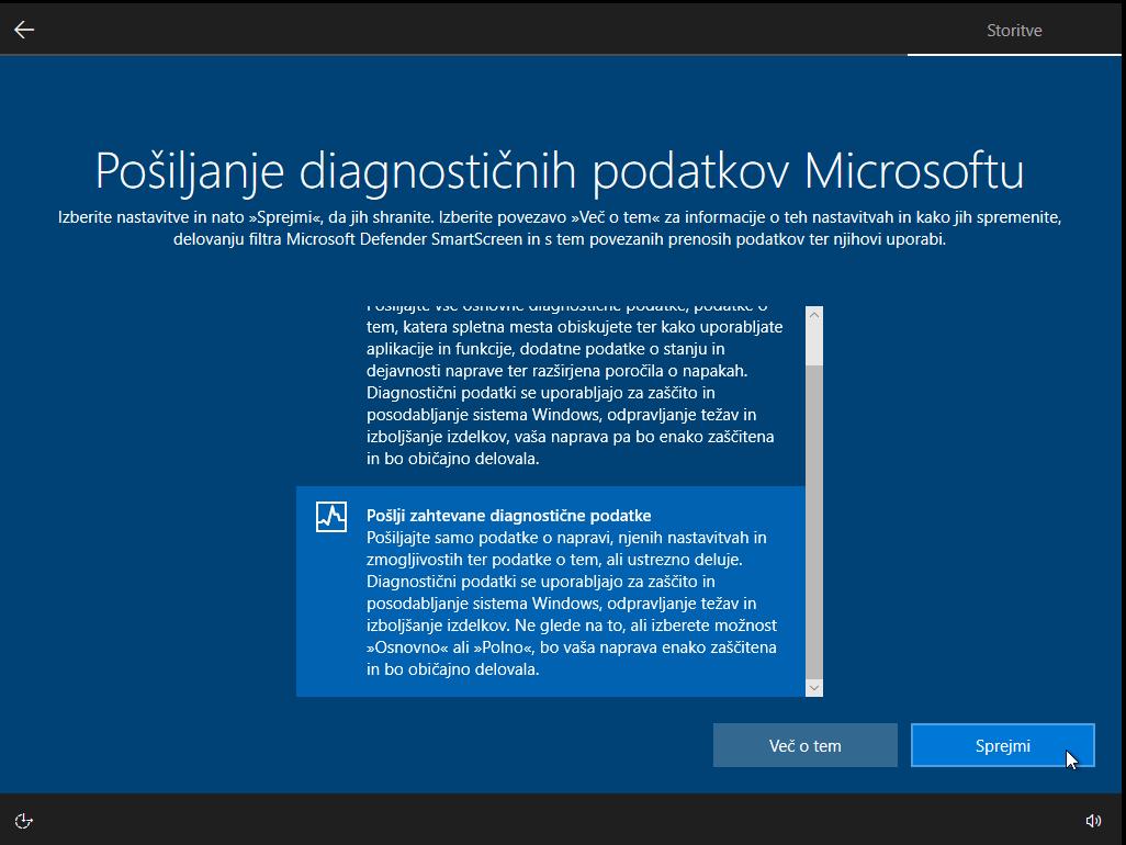 Pošiljanje diagnostičnih podatkov Microsoftu