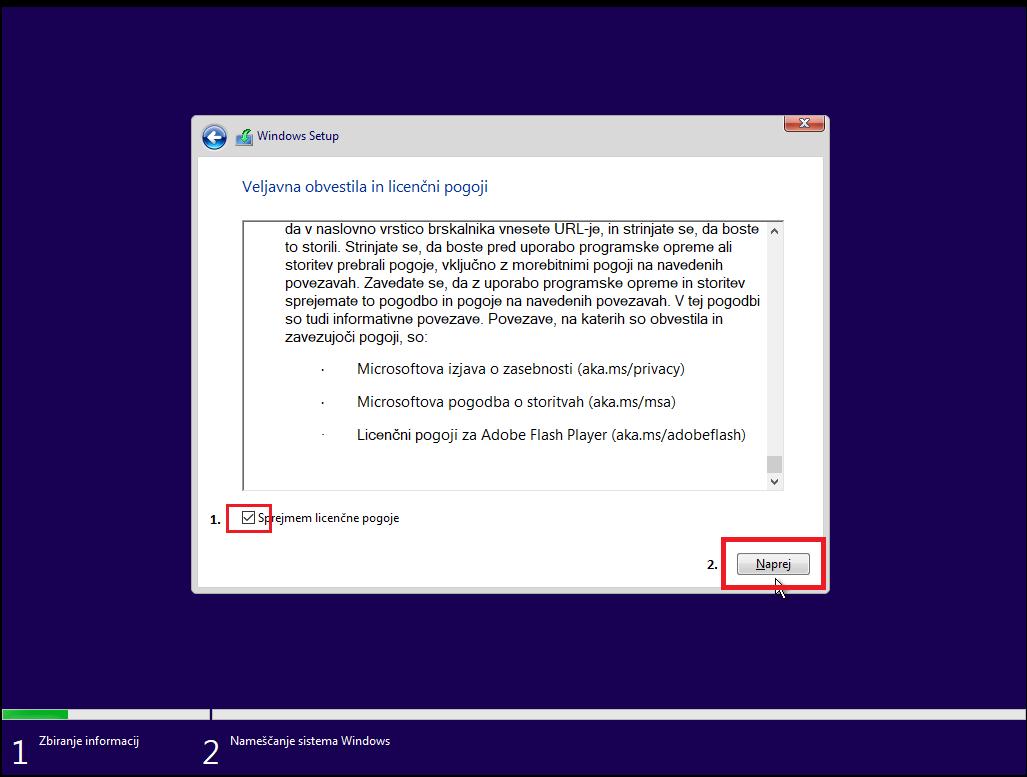 Sprejem pogojev inštalacije windowsa 10 na računalnika