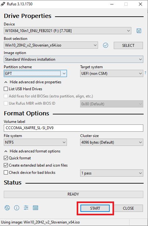 Windows 10 ISO izbran v programu rufus