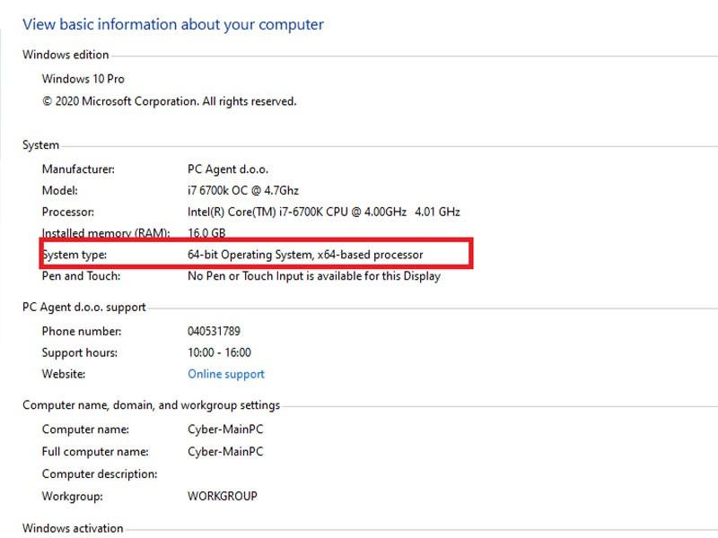 Windows 10 Sistem informacije za ugotovitev bitnega sistema