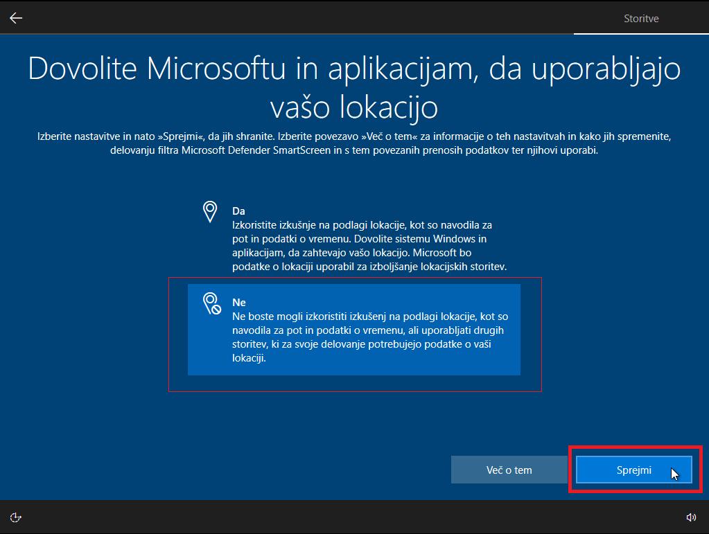 Zavrnite Dostop do lokacije na windows 10
