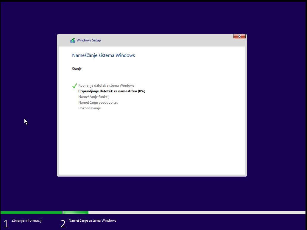 pričetek Inštalacije windows 10 okolja preko usb ključka